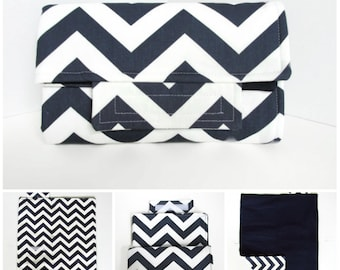 Chevron Changing Pad Clutch Baby Boy Navy Blue or Design Your Own