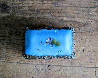 Turquoise Glass Box, Blue Milk Glass, Custard Glass, Hair Pin Box, Powder Box, Vintage Glass Box, Blue Glass Box, Antique Glass Container