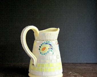 Mosaic Vase, Mosaic Pitcher, Up-cycled Vase, Paisley, Mosaic Yellow Pitcher, Mosaic Art, DIY Cottage Decor, Pique Assiette