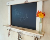 MOVING SALE - Kitchen Chalk Board in White Wash Distressed and Antiqued with Shelf and Hooks