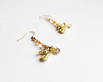 KTM Orange and Gold Dirt Bike Earrings