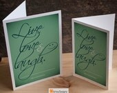 Inspirational PDF Printable Notecard Greeting Card - Live Love & Laugh. Life's Instructions • Green- Birthday DIY