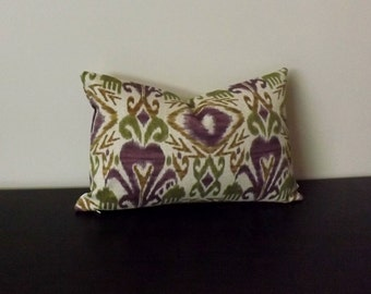 Decorative Throw Pillow, Ikat Lumbar Pillow Cover, Purple and Cream Lumbar Pillow,Toss Pillow, Accent Pillow,12x16,12x18 Sofa Pillow