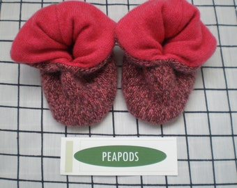 Cashmere booties, PEAPODS,  baby booties double thick 3-9 months