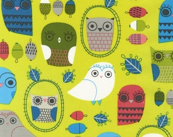 Critter Community Owls in Bermuda, Suzy Ultman, Robert Kaufman Fabric - ASD-11890-237