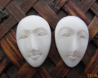 Pair of oval face Bone Carving, Embellishment, Carved face ,Cabochon for setting B4087