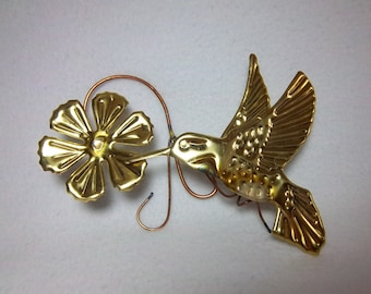 Hummingbird Wall Hanging Brass and Copper Sculpture - Vintage Home Decor