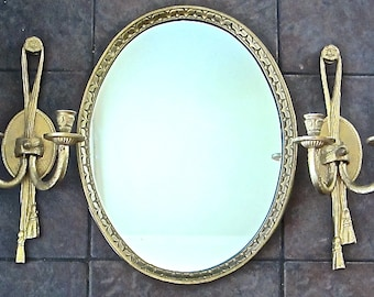 "Oval Wall Mirror 17"" Wood Frame with Brass Candle Sconces, English Country Estate"