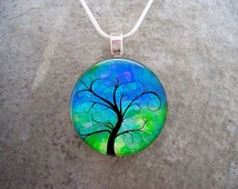 PRE-ORDER Wiccan Jewelry - tree of life - Glass Pendant Necklace - Tree 20