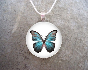 Blue Butterfly Jewelry - Photo Pendant - Butterfly 13
