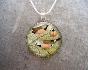 Bird Jewelry - Glass Pendant Necklace - Victorian Bird 12 - PRE-ORDER