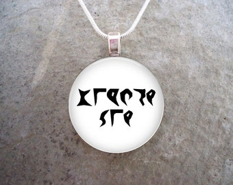 Klingon Jewelry - Glass Pendant Necklace - Star Trek - Anger Excites - RETIRING 2017