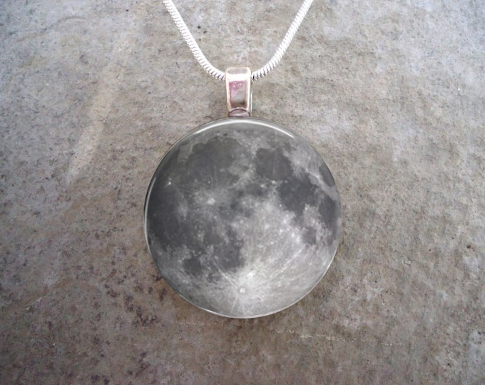 Full Moon Jewelry - Glass Pendant Necklace - Astronomy Jewellery