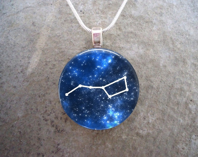 The Big Dipper - Ursa Major Constellation - Astronomy Jewelry - Glass Pendant Necklace