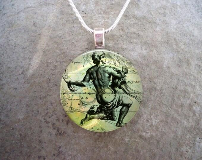 Aquarius Jewelry - Glass Pendant Necklace - Victorian Horoscope - RETIRING 2017