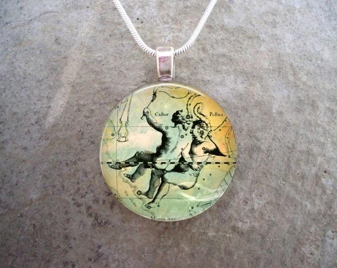 Gemini Jewelry - Glass Pendant Necklace - Victorian Horoscope - RETIRING 2017