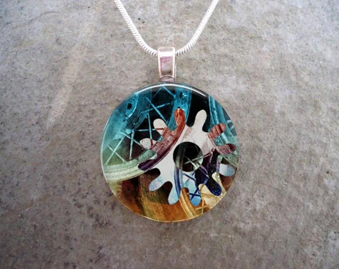 Steampunk Necklace - Glass Pendant Jewelry - Steampunk 2-11 - RETIRING 2017