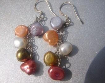 Multi-Color Freshwater Pearl Dangle Earrings 247.