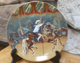 Vintage 1987 American Carousel plate Peter's Ride Willits Galleries dog rescue