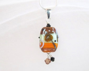 Necklace orange, brown & greens glass lampwork bead with crystals