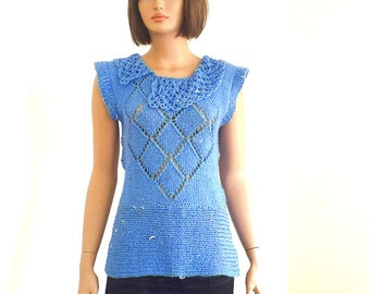 Knitted sweater, womens clothing, tunic in royal blue, winter 2017, gift for her