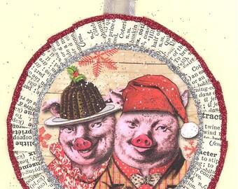 Pig Christmas Ornament |  Pigs Christmas ornament | Vintage Style