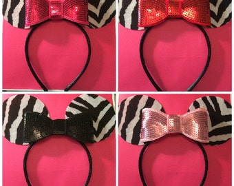 Minnie Mouse Ear Zebra Headband for Children to Adult Pic your color