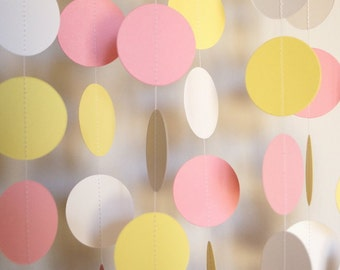 Pink, Yellow and White Paper Garland, Baby Shower Decoration, 1st Birthday Party, 10 ft. long