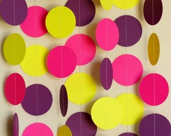 Pink Yellow Purple Garland, Colorful Girl's Birthday Decoration, Hot Pink Paper Garland, 1st Birthday Decor, Birthday Garland, 10 ft. long