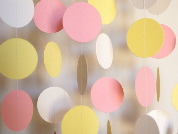 pink yellow and white paper garland baby shower decoration 1st