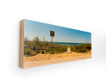 "Beach Limited Edition Fine Art Photo Transfer 'Use Boardwalk' - 10""x30"" Wood Panel by Patrick Lajoie"