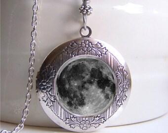 Full Moon Necklace, Photo Locket, Moon Locket, Locket Necklace, Moon Pendant