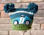 Knitted  Race Car Pompom hat - Choose your size - Choose your color - Photography Prop - Made to order