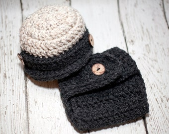 Crochet Colorblocked Newsboy baby hat with matching diaper cover - Pick your color - Photography Prop - Pick your size/color - Made to order