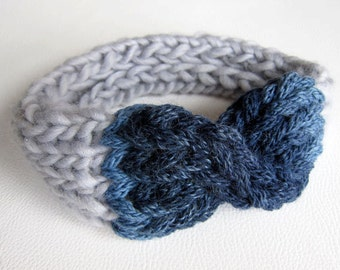 Knitted Headband Knitted Turban, Chunky Knit Bow, Chunky Head Scarf, Knit Collar, Knit Ear Muffs, Knit Hairstripe. Blue grey. ONE OF A KIND