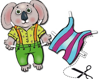 koala dress up,  paper koala set  - downloadable PDF only