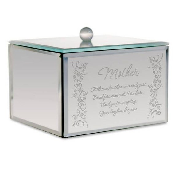 Engraved mirrored jewelry box for mom for Mirror jewelry box