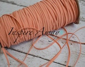 Peach Skinny elastic, 1/8 inch elastic, 5 yards or 10 yards - Elastic by the yard - Thin Elastic - DIY Headbands, foe elastic, supply