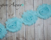 AQUA Shabby Chiffon Flower Trim - Your choice of 1 yard or 1/2 yard -  Chiffon Shabby Rose Trim, DIY headband supplies,