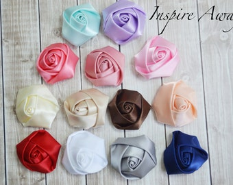 "Mini Satin Roses - 1"" Petite Satin Rosettes- YOU PICK quantity - Wholesale Lot - Satin Rolled Rosettes - Fabric Flowers Wholesale"