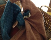 Multi-purposed tea towel: handwoven organic cotton (dyed from bark of Burmese rosewood and Indigo leaves)