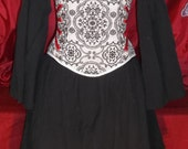 Victorian/Steampunk underbust corset White & Black with red accents (clearance sale)