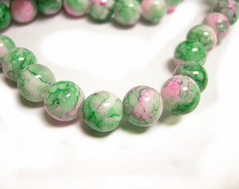20pc Spray Painted 10mm  glass beads-8281