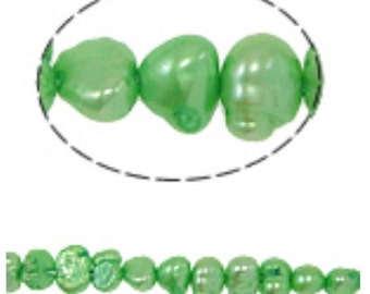 15 inch Strand Potato Cultured Freshwater Pearl Beads In Green-8546