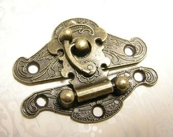 3 sets Bronze Finish Pattern Carved Box Locks-8807