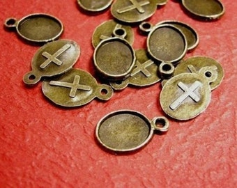 SALE!-100pc antique bronze nickel lead free Cabochon Setting-150A