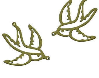 6pc 38x31mm antique bronze bird pendant-658
