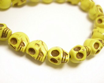40pc 9x8mm Dyed Yellow Synthetic Howlite Beads-3260