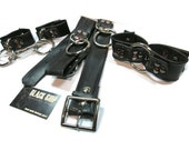Bondage Set - Cuffs and Belt - Gifting Season Special - Red Links, Vegan Leather