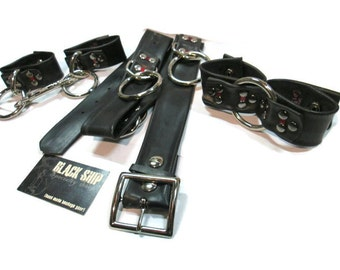 Cuff and Belt Set - Red Links, Vegan Leather